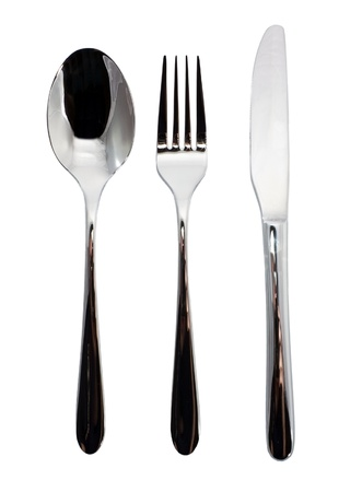 three objects: Fork, knife and spoon on white background Stock Photo