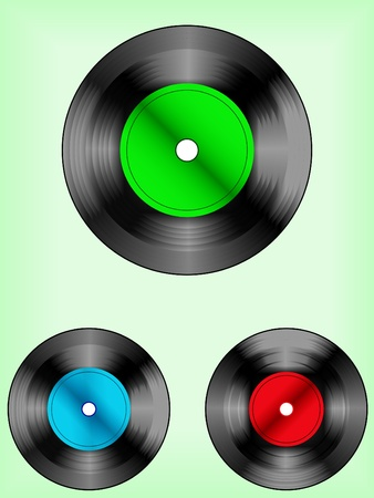 Set of vinyl discs Stock Vector - 9457127