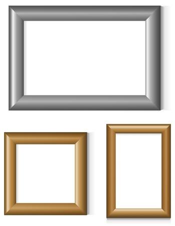 bilderrahmen gold: Satz von Silber und Gold Foto Frames Illustration