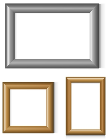 silver picture frame: Set of silver and gold photo frames Illustration