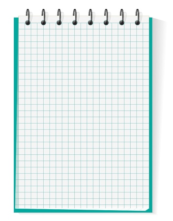 binder clip: Spiral section notebook isolated on white