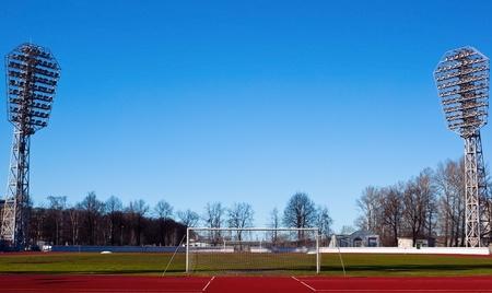 Footbal stadium on the sunny spring day photo