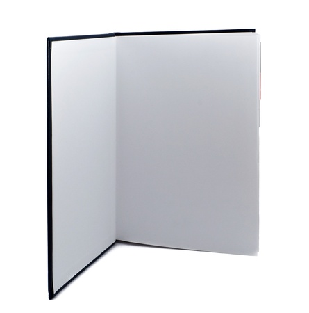 Open standing book on white background photo