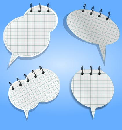 rout: Notebooks sheets in speech bubbles style Illustration