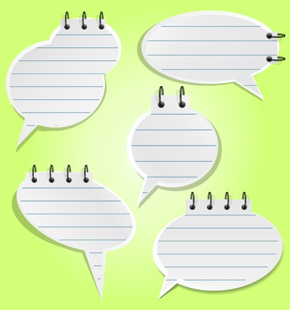 speak bubble: Set of lined spiral notepad sheets in style of speech bubble