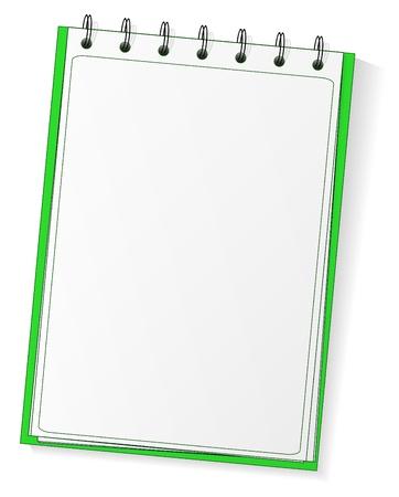 Cuaderno de espiral verde vector en blanco