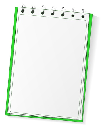 old notebook: Green spiral vector blank notebook Illustration