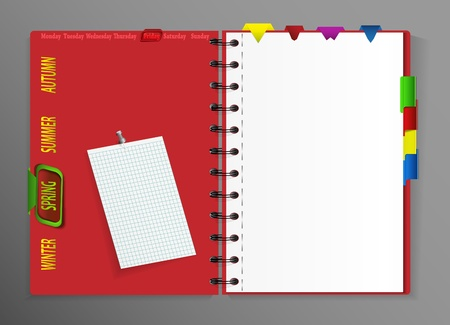 Notebook with different bookmarks Vector