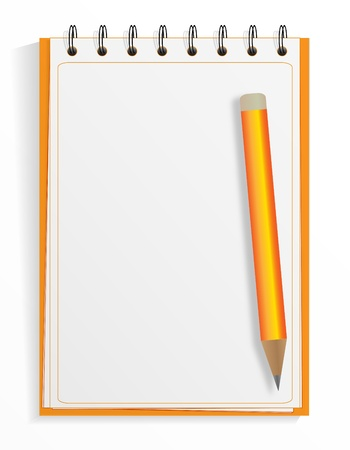 Spiral notebook and pencil Stock Vector - 9931460