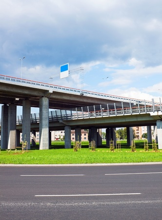 viaducts: Viaducts over the road on sunny day Stock Photo