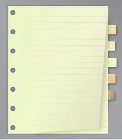 textbooks: Blank lined notepad with bookmarks