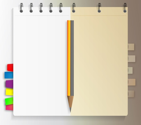 Notebook with bookmarks and pen Stock Vector - 9931472