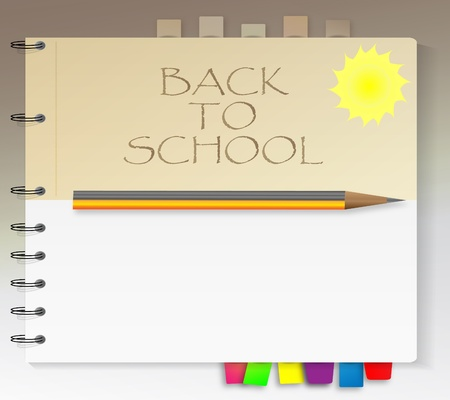 School notebook with sun and pencil Stock Vector - 9931471