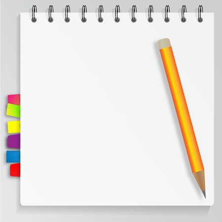 Pencil and bookmarked notepad