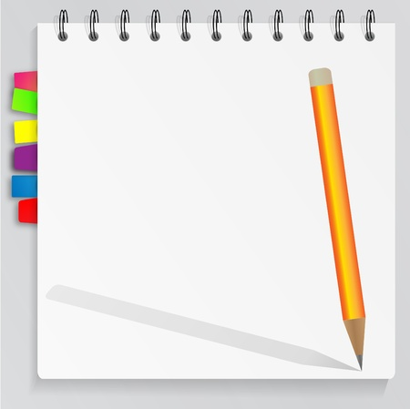 cuaderno espiral: Cuaderno de espiral con marcadores  Vectores