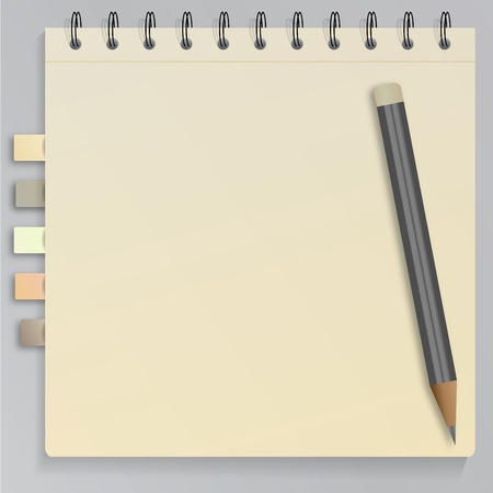 Spiral notebook with bookmarks and pencil