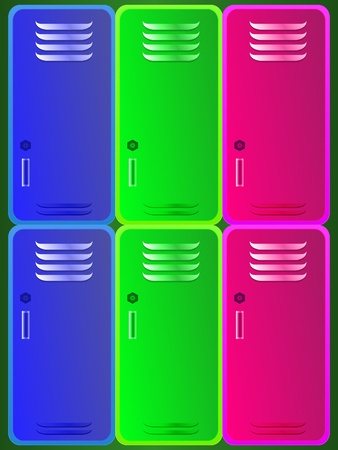furniture detail: School colorful lockers Illustration