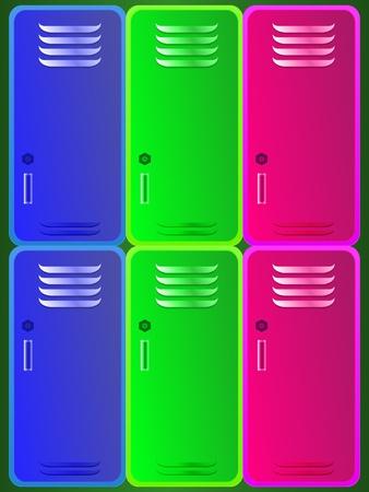gym room: School colorful lockers Illustration