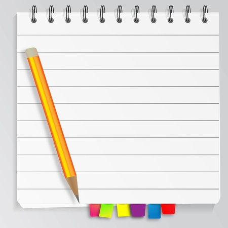 Bookmarked spiral notepad with pencil Vector