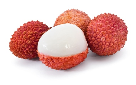 lychee: Group of litchi isolated on white background Stock Photo