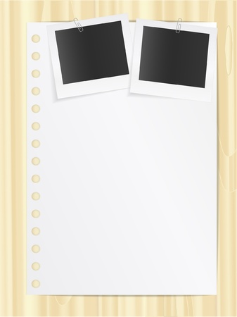 Blank list and two photo cards Vector