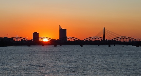 Sunset in the Riga city photo