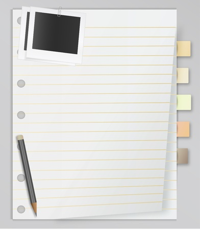 Lined spiral notepad list with stuff Vector