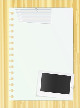 lined paper background: Blank list and photo card and piece of lined list Illustration