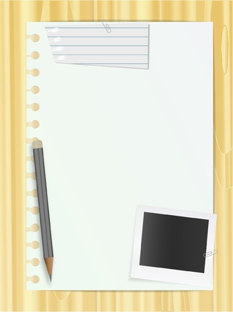 Notebook list and photo card, pencil and piece of sheet Stock Vector - 10292306