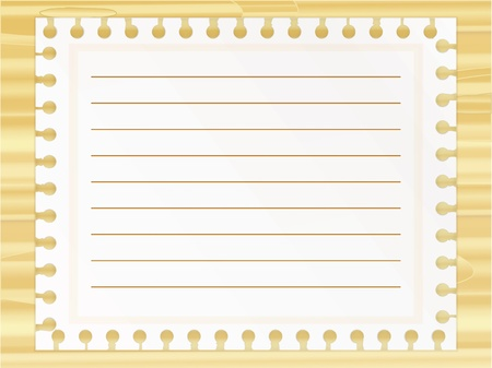 Notepad lest on wooden background Illustration