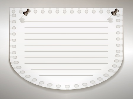 spiral binding: Notepad sheet on the silver wall on paper clips
