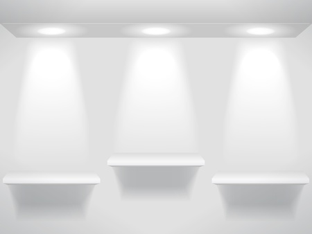 Shelves on wall with lights Vector