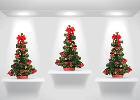 Three christmas fur threes on shelves on the wall photo