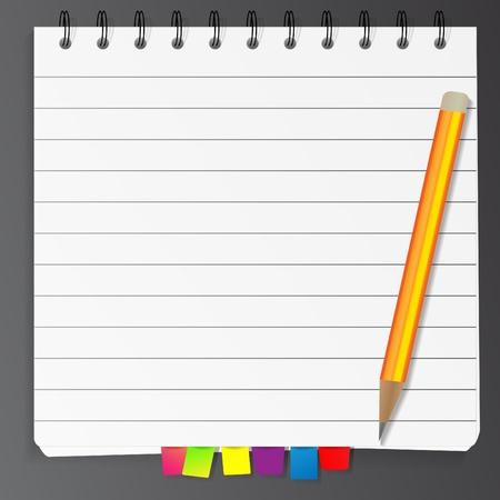 Spiral Notizblock Liste mit Lesezeichen und Bleistift Vektorgrafik