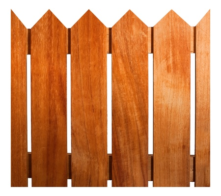Wooden fence isolate on white background photo