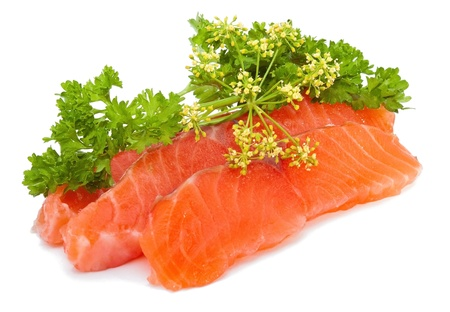pink salmon: Salmon slices with parsley on white background