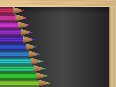 Chalk board and color pencils Vector