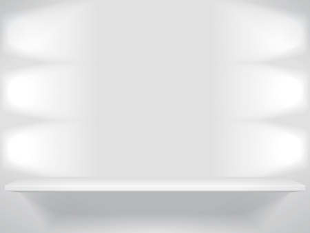 Shelf with light sources Vector