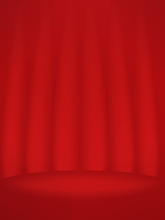 dais: Podium with red curtains
