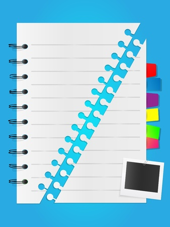 Notepad list with photo card and bookmarks Stock Vector - 10663233