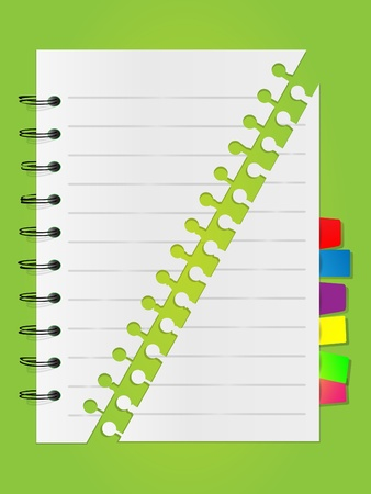 Spiral lined notebook list with bookmarks Vector