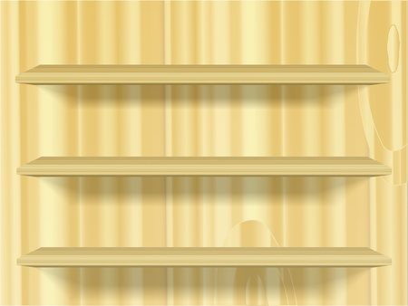 wooden three shelves on wall Vector