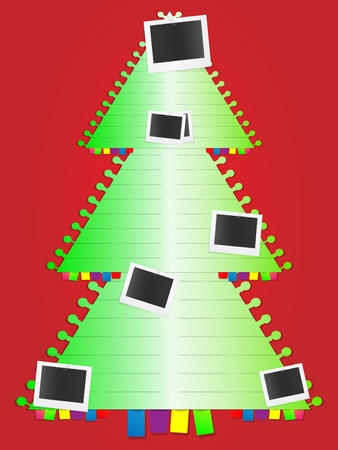 Christmas tree with photo cards and bookmarks Vector