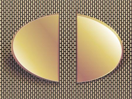 brushed aluminum: Etiqueta de bronce sobre fondo de metal