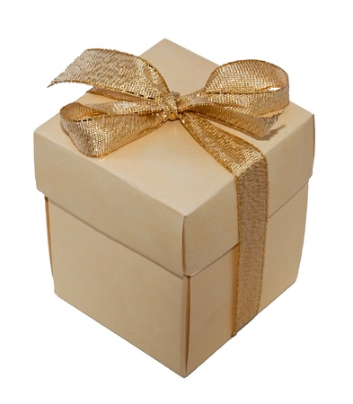 Gift box on the white background photo