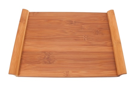 Wooden table for sushi on white background photo