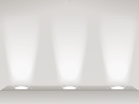 single shelf: Lights on the wall