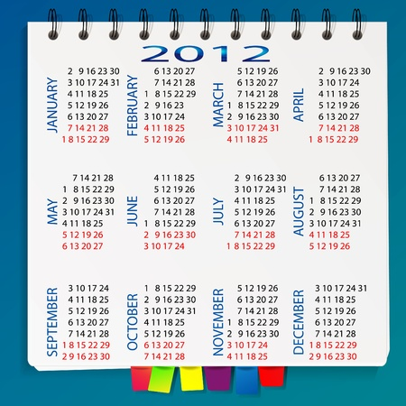 Spiral calendar for 2012 with bookmarks Stock Vector - 11096547