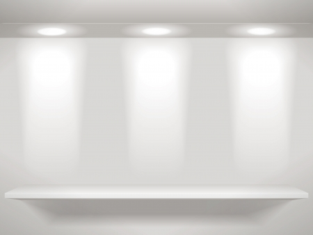 single shelf: Three lights on wall and one shelf