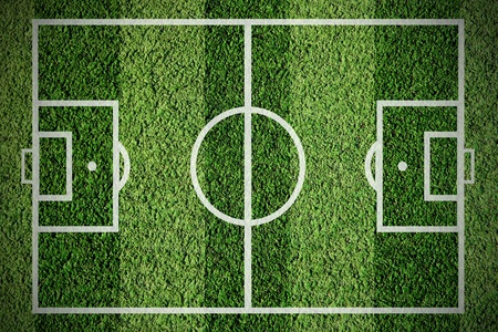 synthetic court: Soccer football field on the gren grass Stock Photo